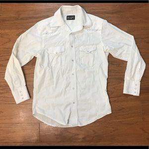 Vintage western white pearl snap rockabilly shirt